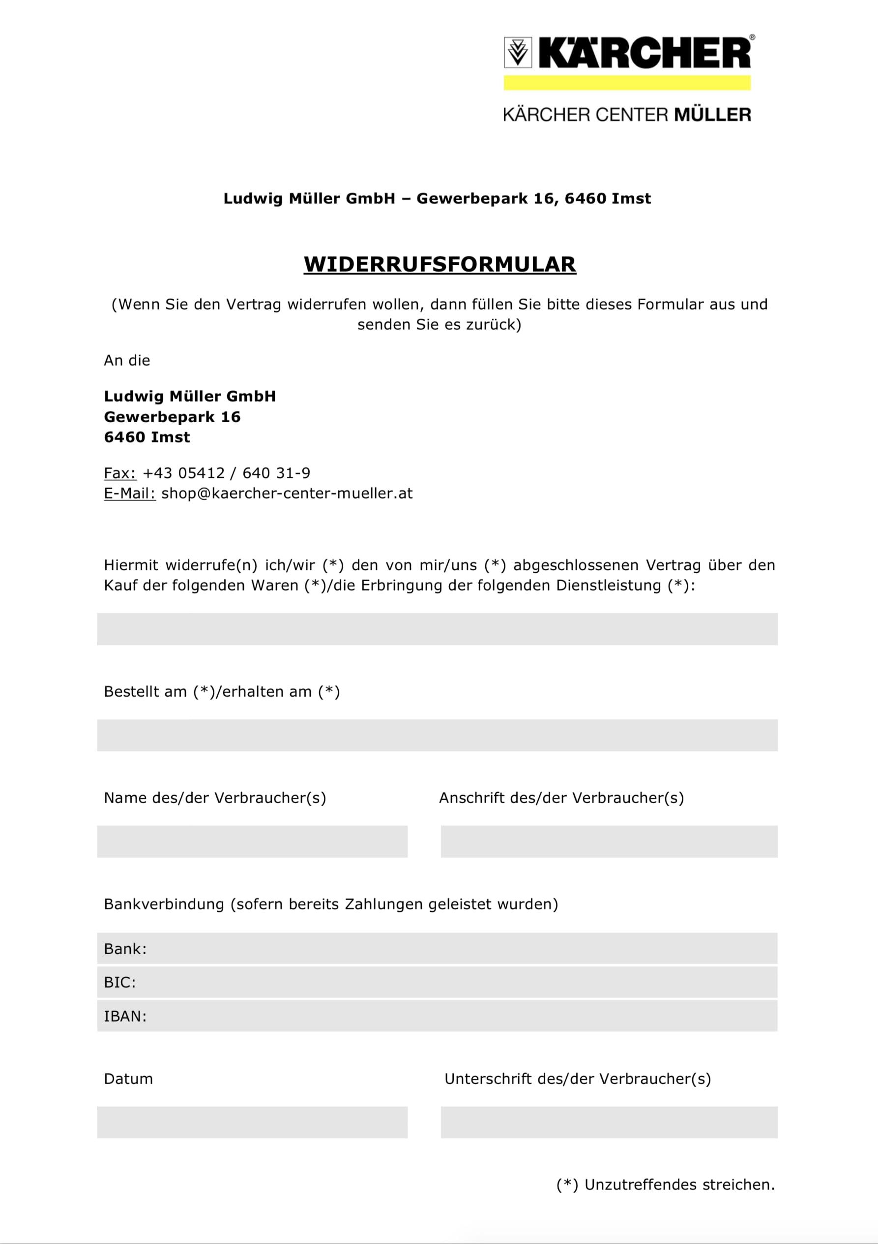 Widerrufsrecht - Kärcher Online Shop